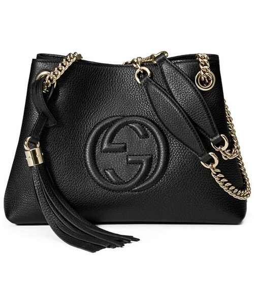 5fa5182f6dde Gucci,Gucci Soho Small Leather Tote Bag w/ Chain Straps, Black - WEAR