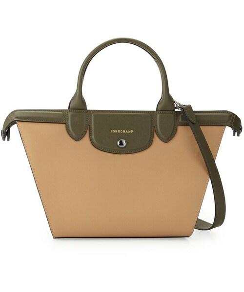 387c640333bd Longchamp(ロンシャン)の「Longchamp Le Pliage Heritage Medium Tricolor Satchel Bag,  Sandy Khaki Ecru(ショルダーバッグ)」 - WEAR