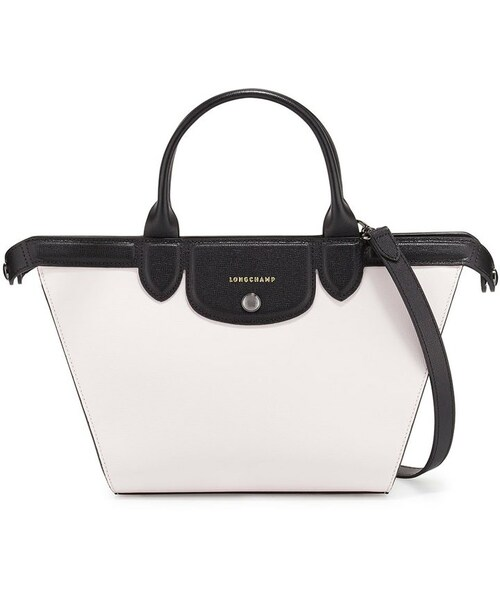 a03b5a5fd068 Longchamp(ロンシャン)の「Longchamp Le Pliage Heritage Medium Tricolor Satchel Bag,  Girl/Black/White(ショルダーバッグ)」 - WEAR