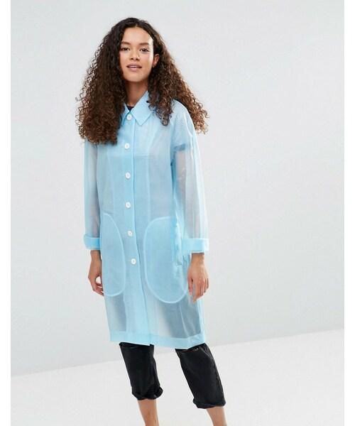 ymc ワイエムシー の ymc blue sheer rubber raincoat tシャツ