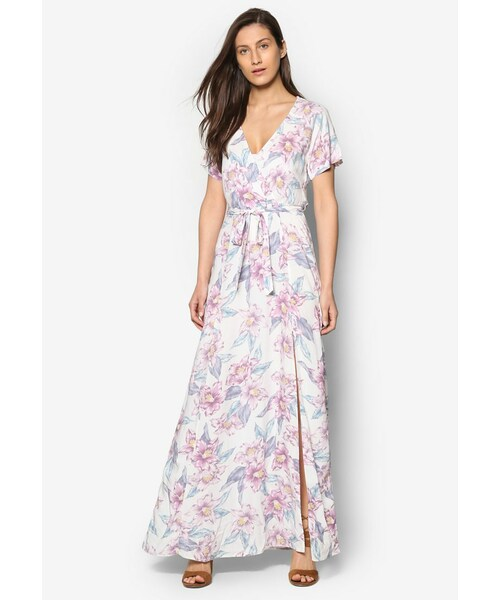 75dd435d88ab New Look(ニュールック)の「White Floral Print Tie Waist Maxi Dress ...