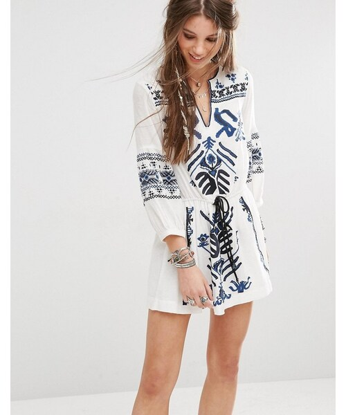 d5d661a4020a Free People,Free People Anouk Mini Dress with Embroidery - WEAR