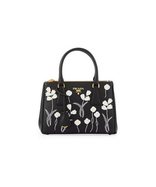 bcc68ec2ce9568 Prada,Prada Saffiano Floral Mini Double-Zip Galleria Tote Bag, Black/White  (Nero+Bianco)