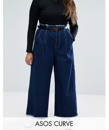 Asos「ASOS Curve ASOS CURVE Belted Wide Leg Jeans With Raw Hem(Denim pants)」