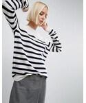 Asos「ASOS White ASOS WHITE Breton Stripe Cashmere Crew Neck Sweater(Knitwear)」