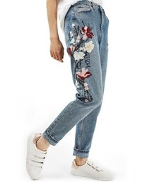 Topshop「Women's Topshop Mom Embroidered Jeans(Denim pants)」