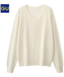 GU(ジーユー)の「(GU)ウールブレンドVネックセーター(長袖) OFF WHITE S(ニット・セーター)」