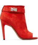 Givenchy「Givenchy - Suede Peep-toe Ankle Boots - Red(Boots)」
