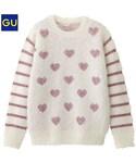 GU(ジーユー)の「(GU)GIRLSシャギーハートドットセーター(長袖) OFF WHITE 110(ニット・セーター)」