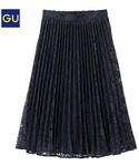 GU(ジーユー)の「(GU)レースプリーツスカート NAVY L(スカート)」