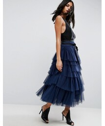 Asos「ASOS Tulle Midi Skirt with Tiers and Tie Waist(Skirt)」