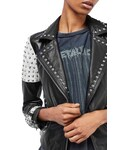 Topshop「Women's Topshop Maddox Studded Leather Jacket(Riders jacket)」