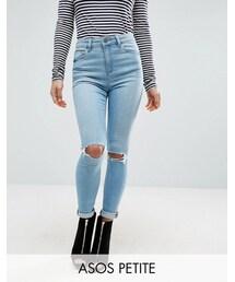 Asos「ASOS Petite ASOS PETITE Ridley Full Length Jeans in Felix Wash(Denim pants)」