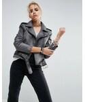 Asos「ASOS Washed Leather Biker(Riders jacket)」