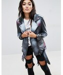 Asos「ASOS Leather Jacket with Spray Print(Riders jacket)」