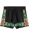 H&M「H&M - Embroidered Shorts - Black - Ladies(Pants)」