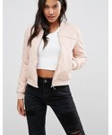 Boohoo「Boohoo Quilted Leather Look Bomber Jacket(Riders jacket)」