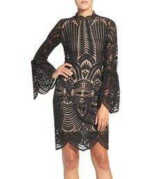Bardot「Women's Bardot 'Emmie' Bell Sleeve Lace Sheath Dress(One piece dress)」