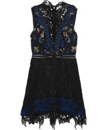 self-portrait「Self-Portrait - Clementine Guipure Lace Mini Dress - Black(One piece dress)」