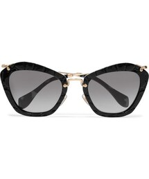 miu miu「Miu Miu - Cat-eye Croc-effect Acetate And Gold-tone Sunglasses - Black(Sunglasses)」