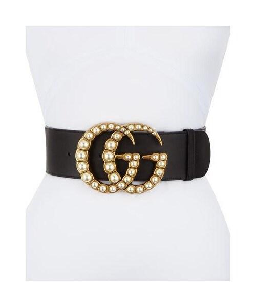 b3404ad14473 Gucci,Gucci Wide Leather Belt w/ Pearlescent Beads, Black/Cream - WEAR