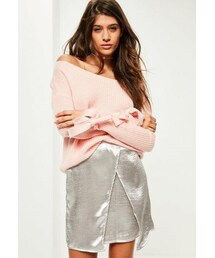 Missguided「Pink Tie Sleeve Bardot Sweater(Knitwear)」