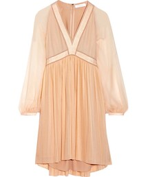 Chloe「Chloé - Plissé Silk-georgette Mini Dress - Blush(One piece dress)」