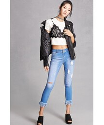 Forever 21「FOREVER 21+ Distressed Frayed Ankle Jeans(Denim pants)」