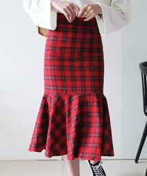DHOLIC(ディーホリック)の「チェックパターンマーメイドミモレスカート(スカート)」