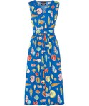 Moschino「Boutique Moschino - Wrap-effect Printed Cotton-blend Poplin Midi Dress - Bright blue(One piece dress)」