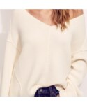 FREE PEOPLE「Over Size V neck Sweater / Off White(Knitwear)」