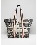 Asos「ASOS BEACH Geo-Tribal Shopper Bag With Fluro Trim(Tote)」