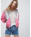 Asos「ASOS Rain Jacket in Metallic Color Block with Sporty Rib(Other outerwear)」