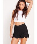 Missguided「Lace Detail Floaty Shorts Black(Pants)」