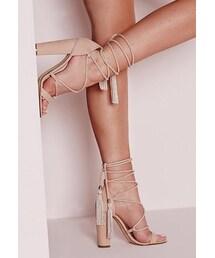 Missguided「Lace Up Tassel Block Heel Sandals Nude(Sandals)」