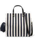 Clare Vivier「Clare V - Petit Leather-trimmed Striped Cotton-canvas Tote - Midnight blue(Tote)」