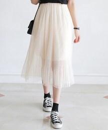 DHOLIC(ディーホリック)の「ウエストゴムドットプリーツシフォンスカート(スカート)」