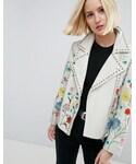 Asos「ASOS Floral Embroidered Leather Biker Jacket(Riders jacket)」