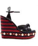 Gucci「GUCCI Pearl-embellished leather wedge sandals(Other Shoes)」