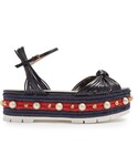 Gucci「GUCCI Pearl-embellished leather flatform sandals(Other Shoes)」