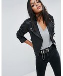 Asos「ASOS Cropped Washed Biker Jacket(Riders jacket)」