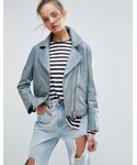 Asos「ASOS Washed Soft Leather Jacket(Riders jacket)」