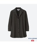 ユニクロ | レーヨンタックプリントブラウス(半袖)+E(シャツ・ブラウス)