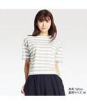ユニクロ「スラブボーダークルーネックT(半袖)(T Shirts)」