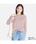 ユニクロ   ボーダーボートネックT(長袖)(Tシャツ・カットソー)