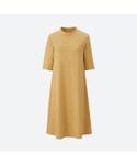 ユニクロ「コットンリブフレアワンピース(5分袖)(One piece dress)」