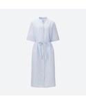 ユニクロ「リネンコットンストライプシャツワンピース(半袖)(One piece dress)」