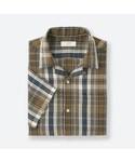 ユニクロ「リネンコットンオープンカラーチェックシャツ(半袖)(Shirts)」