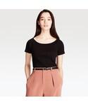 ユニクロ | リブバレエネックT(半袖)(Tシャツ・カットソー)