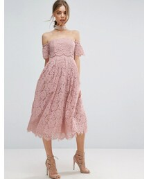 asos「ASOS Off the Shoulder Lace Prom Midi Dress(One piece dress)」